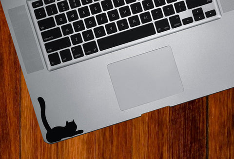 "TP - Cat Lying Down Tail - Trackpad Keyboard - Vinyl Decal - ©YYDC (2.5""w x 3""h) (Color Choices)"