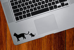 "TP - Cat Mom and Baby Kitten Playing with Tail - DESIGN 1 - Trackpad / Keyboard - Vinyl Decal Sticker - Copyright © Yadda-Yadda Design Co. (4""w x 1.75""h) (BLACK)"