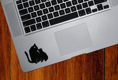 "TP - Cat Mom and Kitten Kiss - D2 - Trackpad / Keyboard - Vinyl Decal Sticker - © YYDC (2.5""w x 2.5""h) (BLACK)"