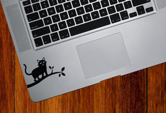 "TP - Cat on Branch D1 - Trackpad / Keyboard - Vinyl Decal Sticker - ©YYDC (3""w x 1.75""h) (BLACK)"