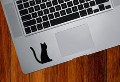 "MB - Cat Sitting Tail Raised - Trackpad Keyboard - Vinyl Decal - ©YYDC (2""w x 2.5""h) (BLACK)"