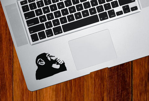 "TP - Chimp Thinking - Trackpad / Keyboard - Vinyl Decal Sticker - (2.5""w x 2""h) (BLACK)"