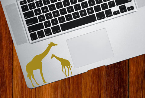 "TP - Giraffe Mom and Baby - Trackpad Vinyl Decal Sticker (3.5""w x 3""h) (Color Variations Available)"