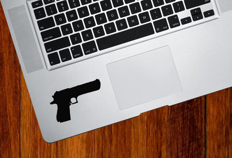 "TP - Handgun - .45 Caliber - Trackpad / Keyboard - Vinyl Decal Sticker - (2.75""w x 1.5""h) (BLACK)"