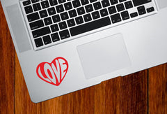 "TP - Love Heart Text - Trackpad / Keyboard - Vinyl Decal Sticker - Yadda-Yadda Design Co. (3""w x 2.5""h) (Color Variations Available)"