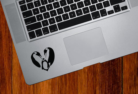 "TP - Heart Emperor Penguin Family - Trackpad Keyboard Vinyl Decal - ©YYDC (2""w x 2""h) (BLACK)"