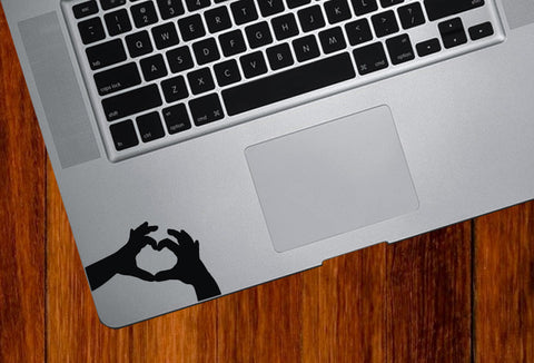"TP - Heart Hands - Trackpad / Keyboard - Vinyl Decal (2.5""w x 2""h) (Color Variations Available)"