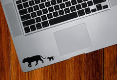 "TP - Lion Mom and Baby - Trackpad Keyboard Vinyl Decal - ©YYDC (4""w x 1.25""h) (BLACK)"