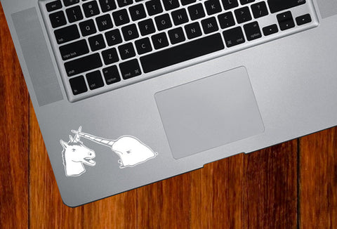 "TP - Narwhal V Unicorn Laptop Decal - Design 2 - Vinyl Trackpad Sticker ©YYDCo. (3.25""w x 2""h) (WHITE)"
