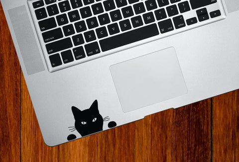 "TP - Cat ""Soon"" Cat  - Trackpad / Keyboard - Vinyl Decal (small 2.5""w x 1.5""h) (BLACK or WHITE)"