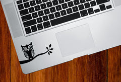 "TP - Owl on Branch - Trackpad / Keyboard - Vinyl Decal (3""w x 1.75""h)(Color Choices)"