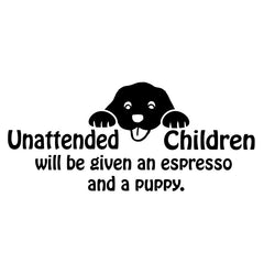 "WALL - Unattended Children - Wall Vinyl Decal - © Yadda-Yadda Design Co. (16.5""w x 7.25""h) (BLACK)"
