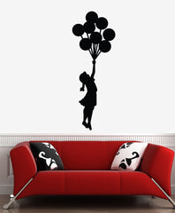 WALL - Flying Balloon Girl - Wall or Door Vinyl Decal (Color and Size Choices)