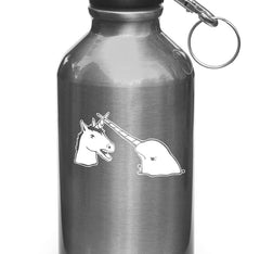 "WB - Narwhal V Unicorn Waterbottle Decal - Design 2 - Vinyl Sticker ©YYDCo. (3.25""w x 2""h) (WHITE)"
