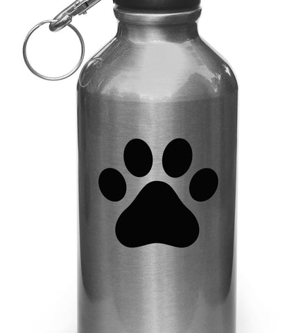 "WB - Dog Pawprint - Paw Print - Vinyl Water Bottle Decal Sticker (3""w x 2.75""h) (Color Choices)"