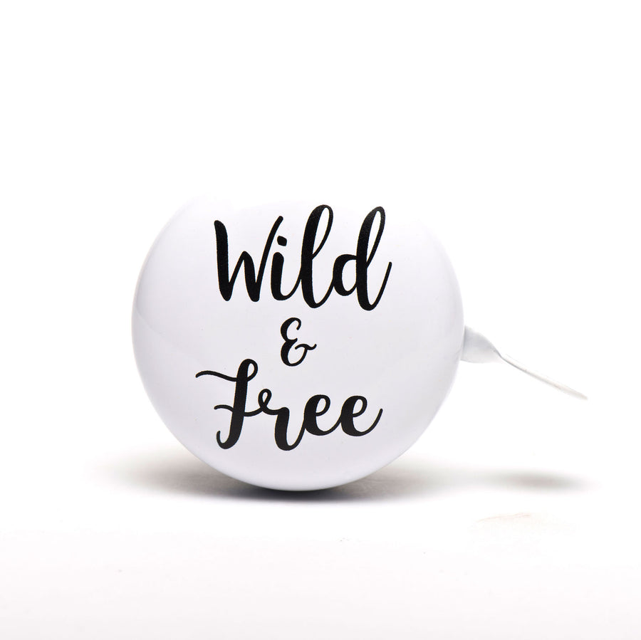White Bike Bell with Wild and Free cool font