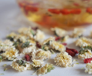 chrysanthemum goji berry tea, caffeine-free tea