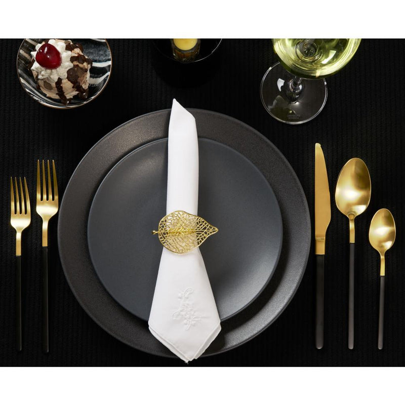 Gold Feulle Set of 4 Napkin Ringss