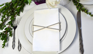Silver X Set of 4 Napkin Wraps
