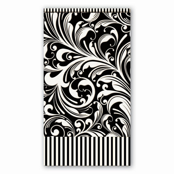 Michel Design Hostess Napkins Black Florentine | Wrapt