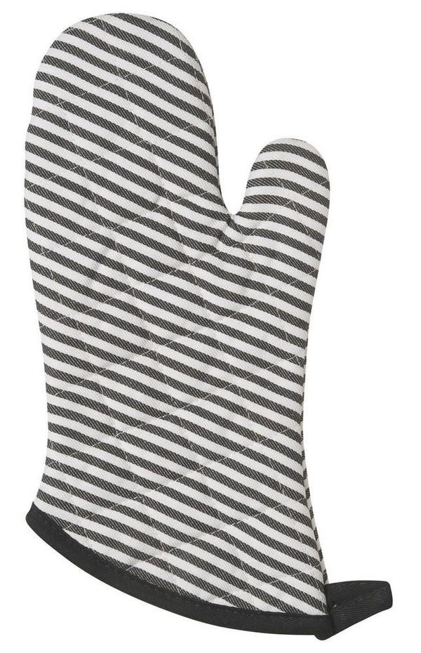 Set of 2 Oven Mitts - Black Narrow Stripe | Kitchen Art