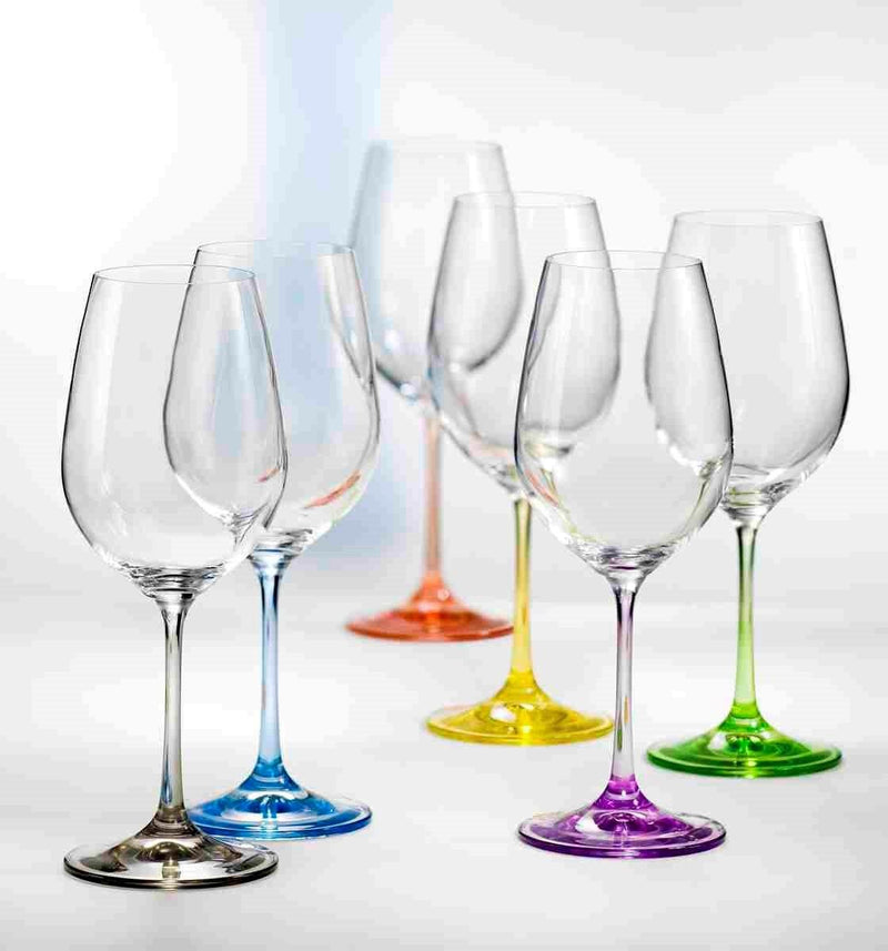 Bohemia Glass Set of 6 Wine - Rainbow