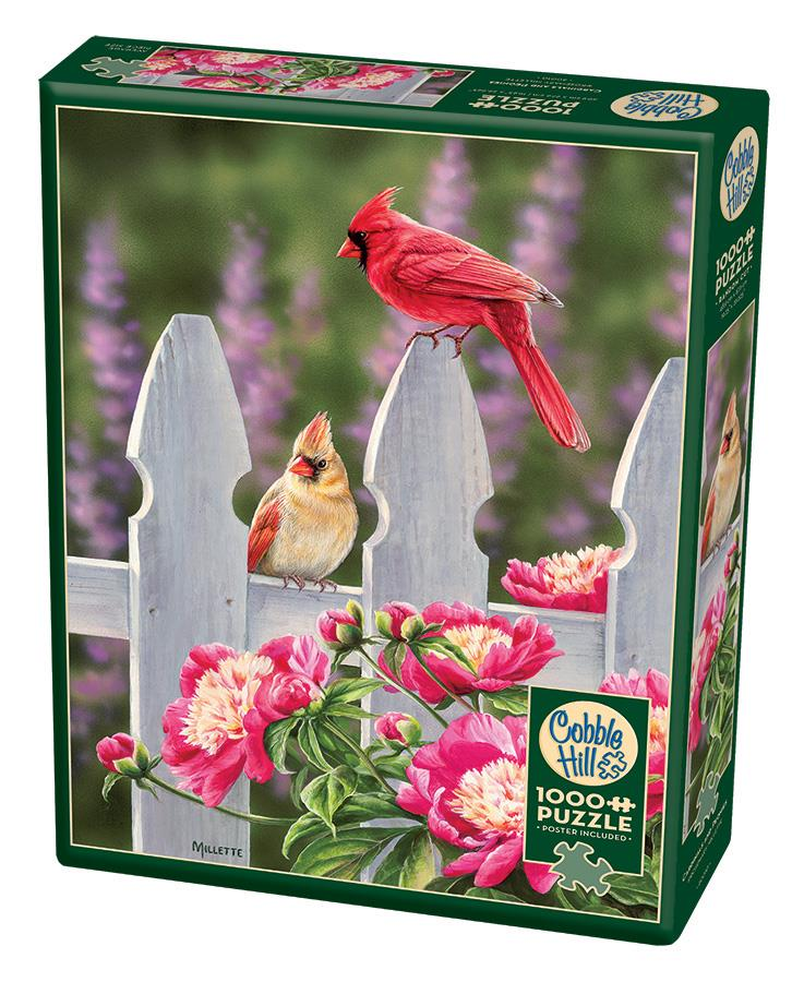 1000 Piece Puzzle - Cardinals and Peonies