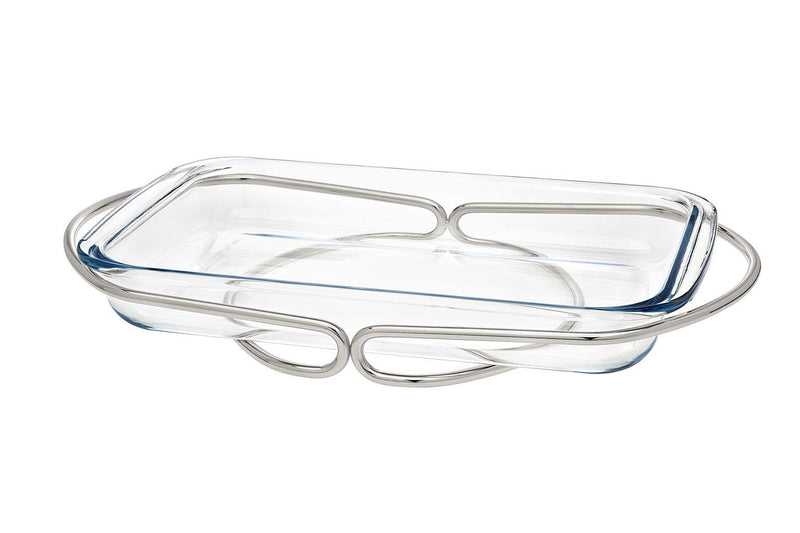 Infinity Oblong Baker - Nickel/Glass | Kitchen Art