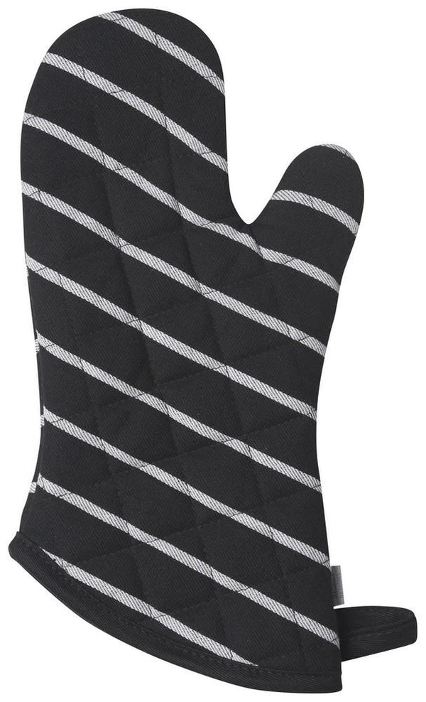 Set of 2 Oven Mitts - Black Chef Stripe | Kitchen Art