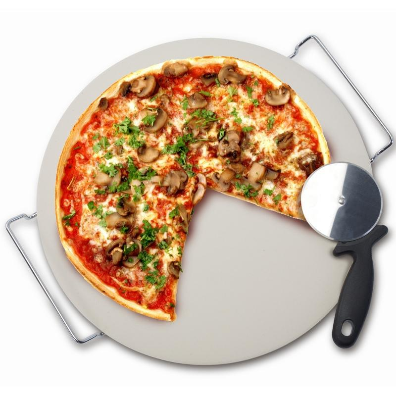 Pizza Stone with Rack and Pizza Wheel