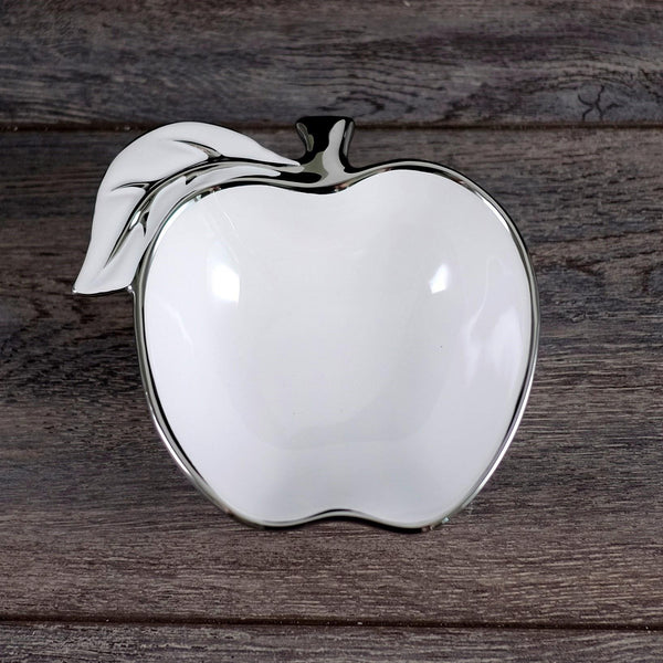 Small Apple Bowl White/Silver | Kitchen Art | Wrapt
