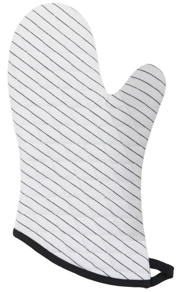 Set of 2 Oven Mitts - Pinstripe White | Kitchen Art