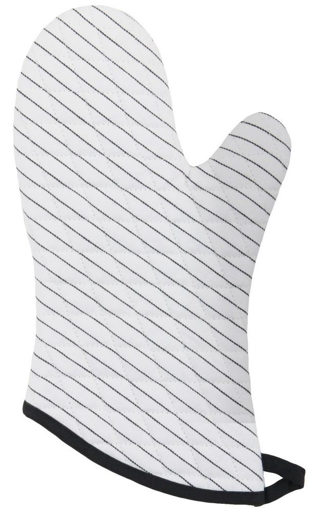 Set of 2 Oven Mitts - Pinstripe White