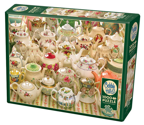 Cobble Hill 1000 Piece Puzzle - Teapots Too | Wrapt