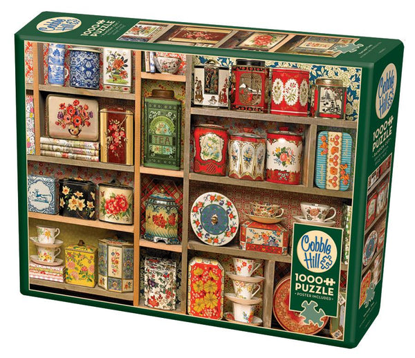 Cobble Hill 1000 Pc Puzzle - Vintage Tins | Kitchen Art