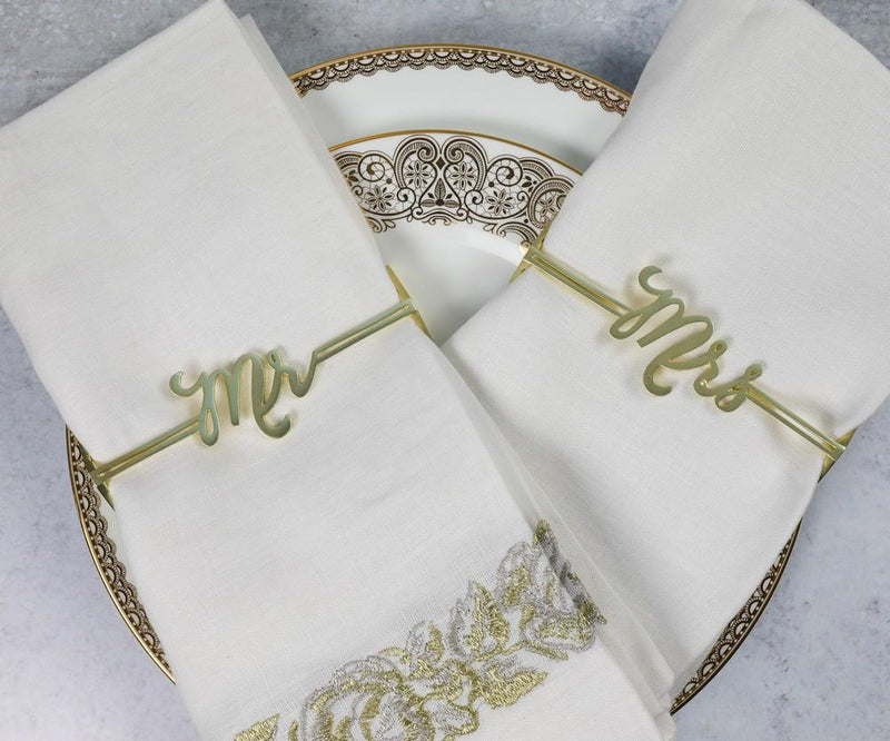 Mr. & Mrs.Set of 2 Napkin Wraps