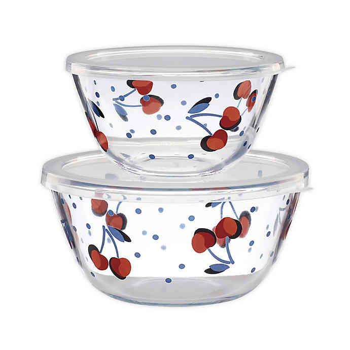 2 Piece Round Containers/Lids Vintage Cherry Dot