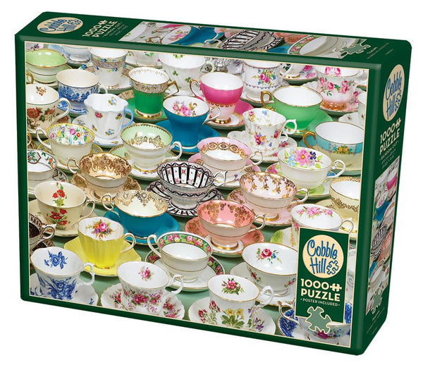 Cobble Hill 1000 Piece Puzzle - Teacups | Kitchen Art