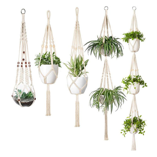 Set Of 5 Indoor Wall Hanging Macrame Planters