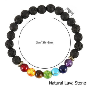 7 Chakra Beaded Bracelet With Natural Lava Stone Diffuser