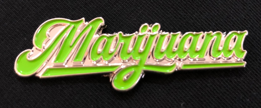 Enamel pin - #Marijuana #Silver #Green