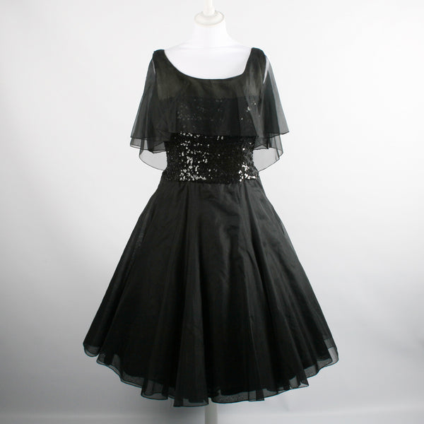 Vintage 1950s Black Organza Dress