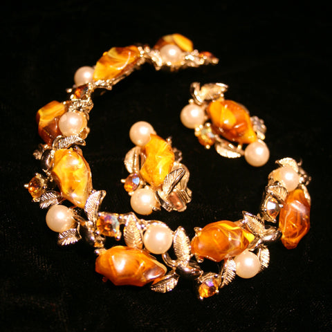 Amber, Pearl and Rhinestone Earrings and Bracelet