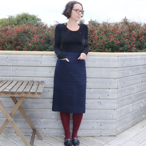 Vintage Blue Wool Skirt