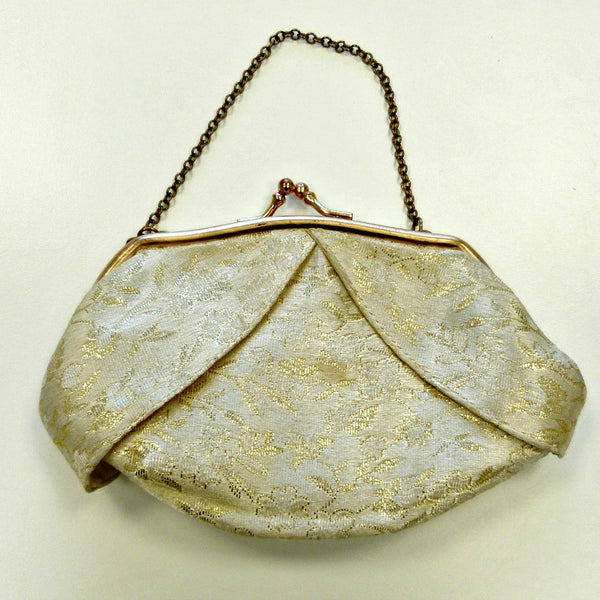 1940s/1950s Cream and Gold Floral Purse