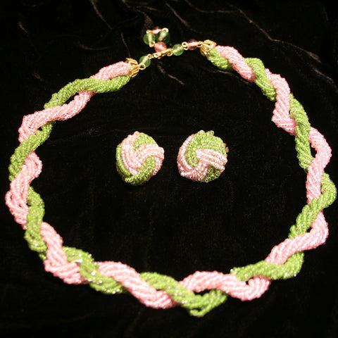 Green and Pink Beaded Set