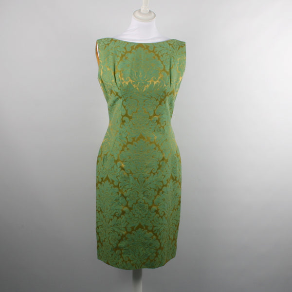 1950s Green Gold Wiggle Dress and Jacket