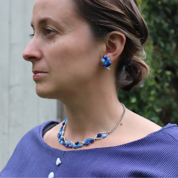 Blue lucite necklace and earrings
