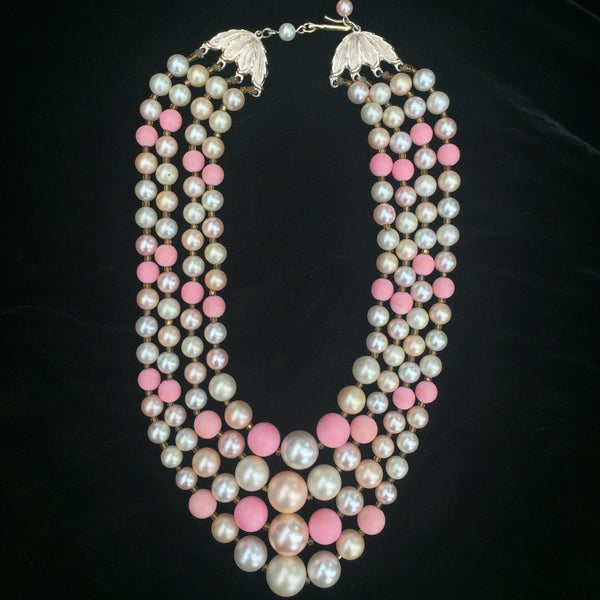 Pink and pearl 4 string beaded necklace