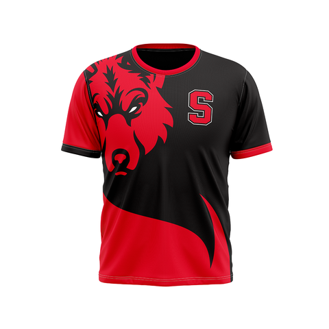 SHAW Eyes of The Wolf Performance Tee Shirt Red